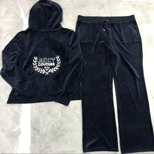 NWT Juicy Couture Navy Blue Velour Tracksuit XL
